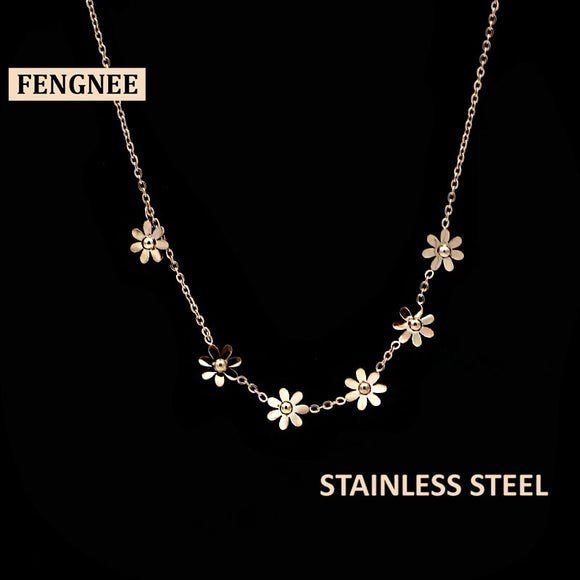 fengnee luxury vintage Stainless Steel Jewelry For Women Love Rose Gold Pendant daisy flower Necklace
