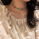Korean Actress Flowers Chokers Necklaces For Women Bohemian Colorful Beaded Pendant Jewelry Short Necklace Gifts
