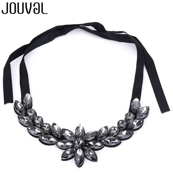 JOUVAL Black Crystal Collar Chokers Necklaces Women Flower Ribbon Necklace Sweater Chain Chiffon Shirt European Jewelry