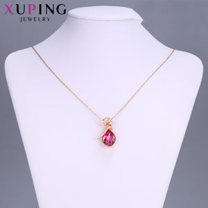Xuping Fashion Jewelry Flower Shape Water Drop Pendant Crystals from Swarovski European Style Exquisite Women Gift S1173.4-33252