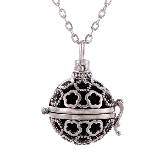 Flower shape 1pc Hollow Cage Filigree Ball Box Diffuser Necklace Locket Pendants For DIY Perfume Essential Oil Jewelry Findings