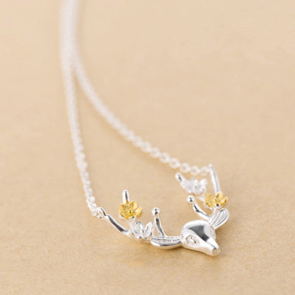 Women Choker Cute Deer Head Flower Pendant Silver Plated Party Necklace Jewelry