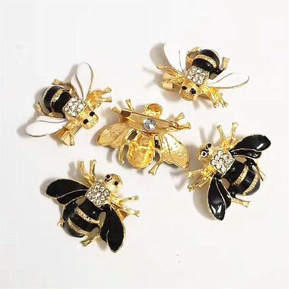 New fashion cute bee brooch ladies men's gold fly insect brooch pin high-grade alloy rhinestone jewelry clothing accessories