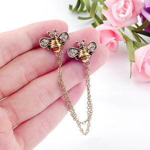 Fashion Women Jewelry Wholesale Three-color Vintage Enamel Crystal Insect Bees Collar Button Brooches Layered Chains Accessory