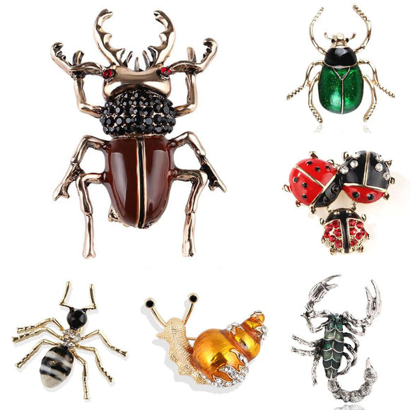 Brooch for Women Party Metal Blue Crystal Enamel Men Black Beetle Insect Snail Women Jewelry Girls Lady Cute Fashion Glamour