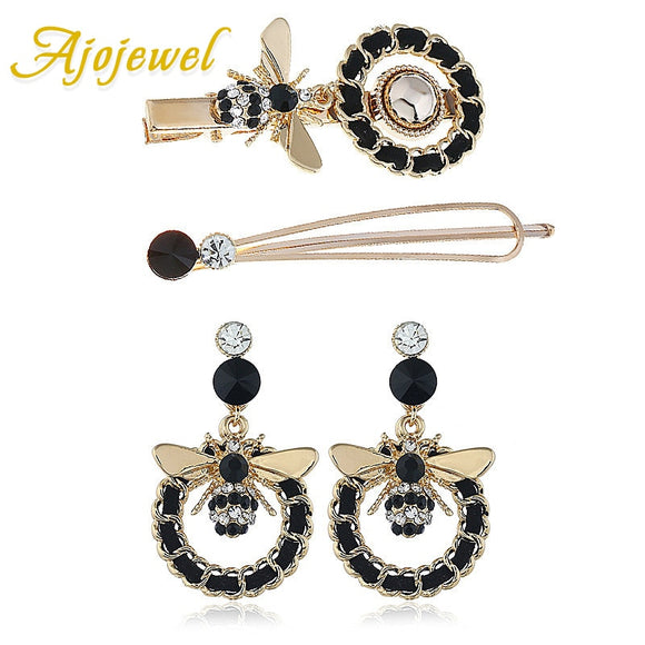 Ajojewel 2019 Statement Bee Earrings and Hair Pins Black Rhinestone Insect Jewelry For Women Girls