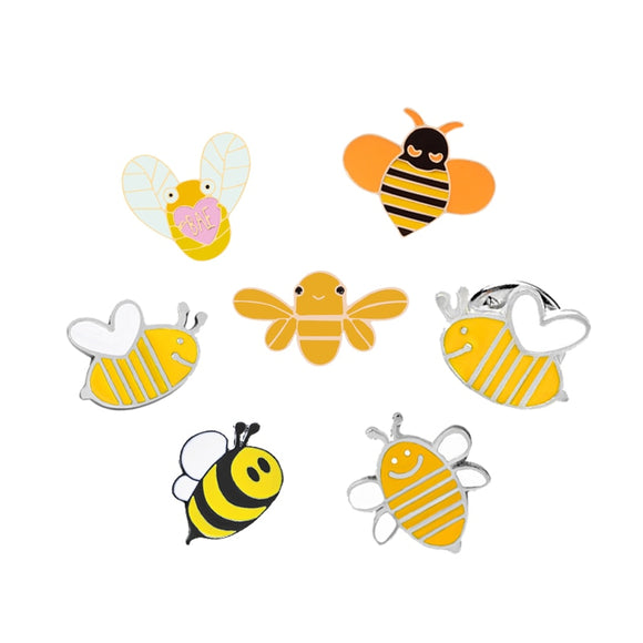 7 Styles Yellow Bee Brooches Cartoon Fly Insect Animal Enamel Pins Denim Jackets Collar Pin Hat Badge Fashion Kids Jewelry Gifts