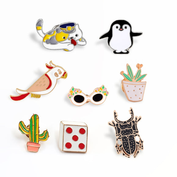 Animal Broche Cat Insect Penguin Cute Badge Pins Dice Cactus Glasses Jackets Lapel Pin Backpack Button Brooches Jewelry Kid Gift