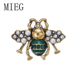 MIEG Brand Imitation Pearls Bee Brooches for Women Antique Gold Color Plated Metal Pin Vintage Style Jewelry