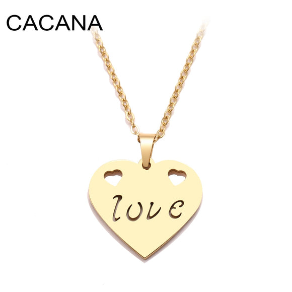 CACANA Stainless Steel Necklace For Women Fall In Love Gold And Silver Color Pendant Necklace Engagement Jewelry