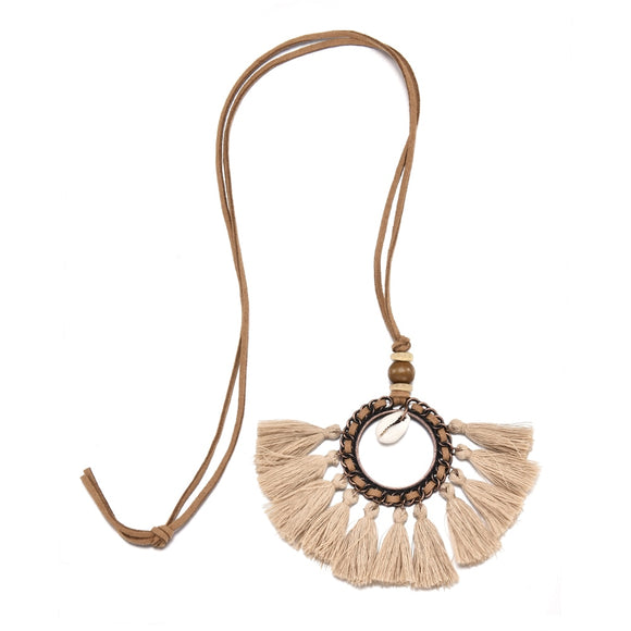 Autumn Party Bohemia Women Boho wisior damski Spiral Tassel Pendant Necklace Long Sweater Chain Jewelry colares mulher