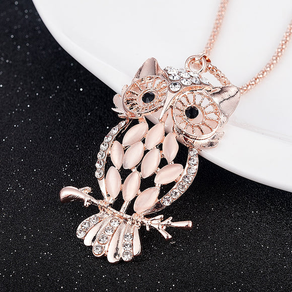 New Fashion Gold Jewelry Crystal Opal Owl Pendant Chain Gold Sweater Long Necklace Autumn Jewelry Accessories For Women Girl