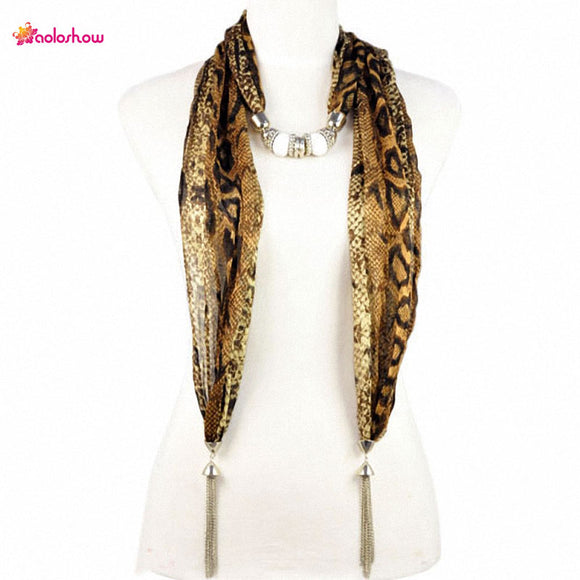 AOLOSHOW tassel style autumn jewelry scarf for women necklace leopard python patterns jewelry tassel ends beads scarf NL-1923