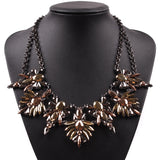 2019 New Fashion Design Autumn Party Pendant Jewelry Colorful Resin Crystal Black Chain Statement Cheap Chain Necklace For Girls