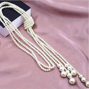 Imitation Pearl Necklace 2-layer Fashion Pearl Tassel Knotted Simple Wild Sweater Chain Long Autumn and Winter Women Jewelry