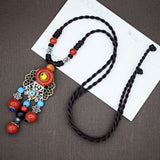 Women's Long Necklace Retro Ceramic and Ethnic Style Knit Necklace Jewelry Autumn and Winter Sweater Accessories Pendant Jewelry