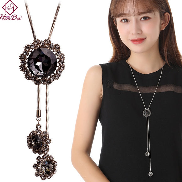 Heeda Japan Korean Graceful Joker Crystal Necklace Fashion Tassel Black Blue Elegant Snake Sweater Chain Autumn Winter Jewelry