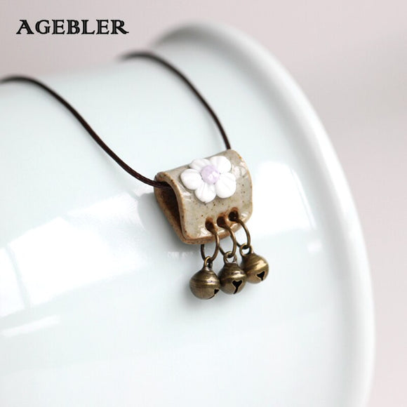 Original Hand Knead Ceramic Necklace Creative Autumn Long Female Sweater Chain Necklace fashion Jewelry Flower Pattern with Bell