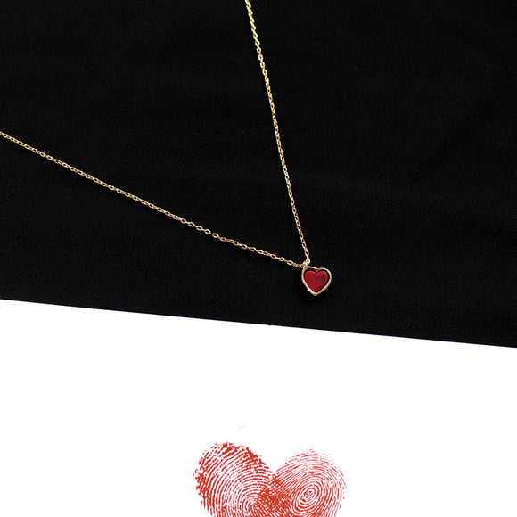 2018 Sweety Lovely Red Heart Chokers Necklaces For Women Kolye Autumn Fashion Jewelry Short Clavicle Necklace Bijoux Femme ABN1
