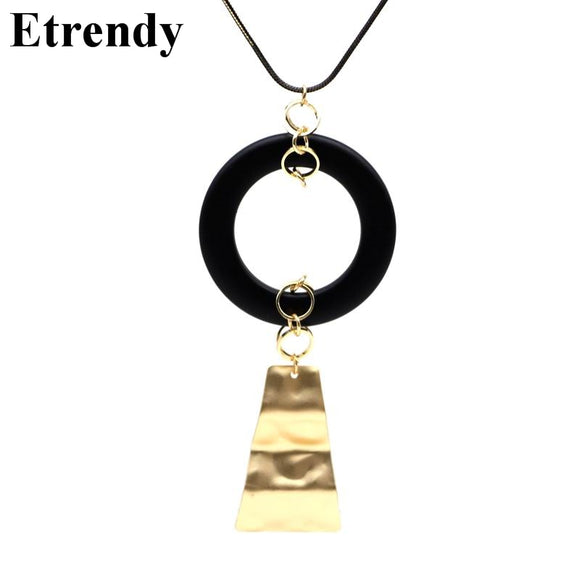 Black Wooden Circle Irregular Geometric Long Necklaces & Pendants Women Trendy Jewelry Autumn Winter Sweater Dress Accessories