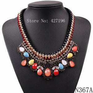 2019 New Trendy Model Autumn Popular Jewelry String Braided Rhinestone Resin Chunky Statement Pendant Chain Necklace for Ladies