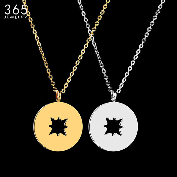2018 Autumn New Jewelry Hollow Round Pendant Necklace Stainless Steel Silver Chain Simple Necklace For Women Girls Gift