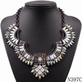 2019 New Fashion Model Autumn Elegant Jewelry Black Chain Crystal Vintage Brand Pendant Chunky Statement Necklace for Women