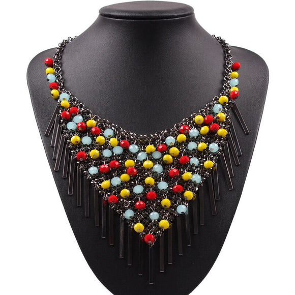 Autumn Chunky Jewelry 2019 New Latest Model Fashion Colorful Resin Bead Black Chain Pendant Statement Necklace For Ladies