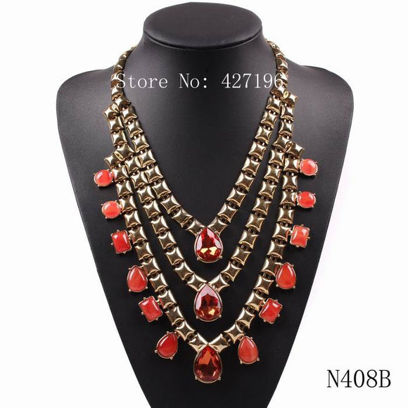 Autumn Sexy Jewelry New Latest Design Gold Color Chain Teardrop Crystal Pendant Bib Necklace Choker For Girls