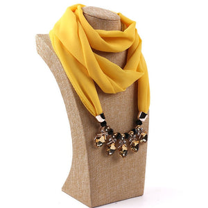 2019 New Popular Handmade Pearl Crystal chiffon Scarf Necklace for Women and Men Spring Autumn Long Necklace Jewelry Fashion