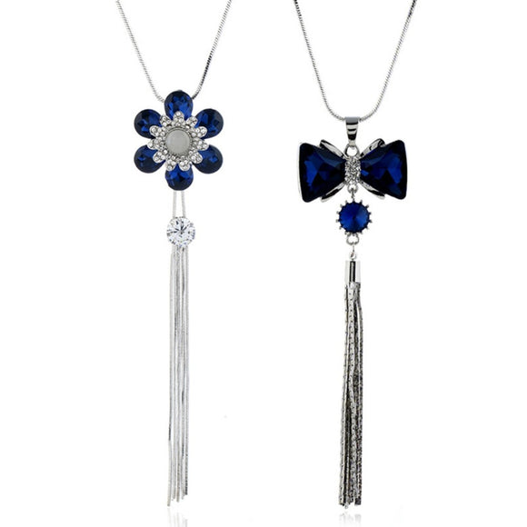 Autumn and Winter Stylish Long Tassel Sweater Chain Blue Rhinestone Bowknot Flower Pendant Necklace For Women Jewelry Gift