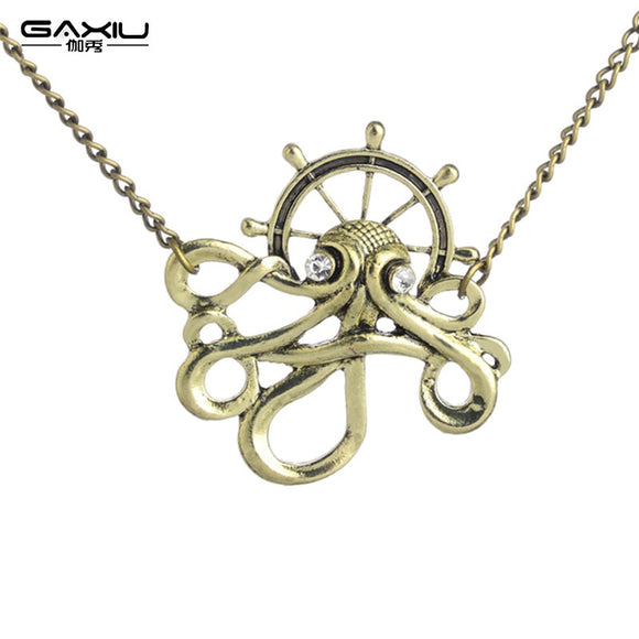 European and American hot vintage mechanical necklaces Punk octopus pendants in autumn new necklaces Unisex jewelry pendants