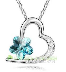 Lovely gift Free Shipping Charm woman winter autumn wedding bridal Austria Crystal Necklace colorFlower Pendant Jewelry quality