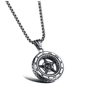 New Car Tire Titanium Steel Personality Necklace Tide Men's Fashion Wild Autumn and Winter Sweater Long Necklace Jewelry