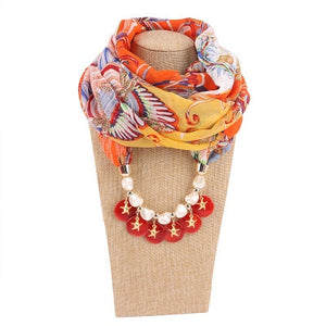 2018 design Vintage ethnic style scarf necklace for women Spring Autumn Chiffon scarf jewelry pendant scarf necklace in stock
