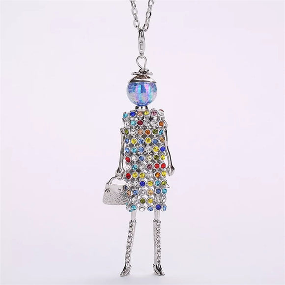 Full Rhinestone Dress Doll Pendant Necklace Women Long Link Chain Necklaces for Sweater Autumn Winter Handmade Fashion Jewelry