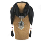 Vintage style water droplet tassel jewelry pendant scarf necklace for women Autumn winter scarf jewelry necklace in stock NS-7