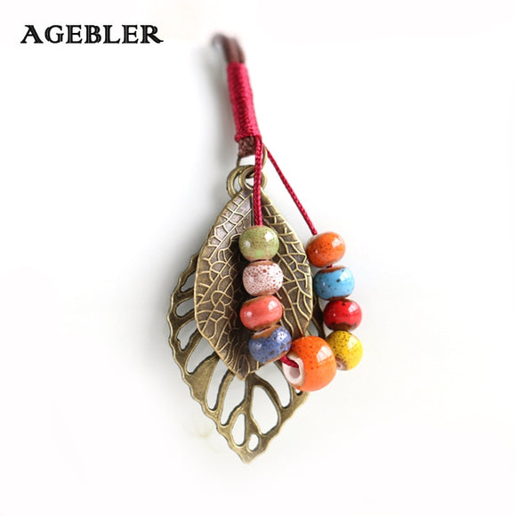 Women Necklace Autumn Hand Woven Creative jewelry Handmade Fashion Boho Style Colorful Elegant Ceramic Beads Accessories
