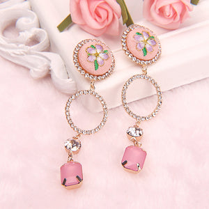1 Pair Vintage Embroidered Floral Korean Earrings Elegant Unique Pink Round Drop Dangle Earrings For Women Statement Jewelry