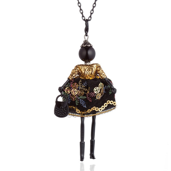 Gold Purple Chinese Embroidered Long Dress Doll Necklaces Black Long Chain Collar Necklace For Women Statement Jewelry Bijoux