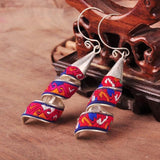 Hot selling> National Ethnic Original embroidered earrings Miao silver plated cloth embroidery dangle jewelry cotton color r -Br