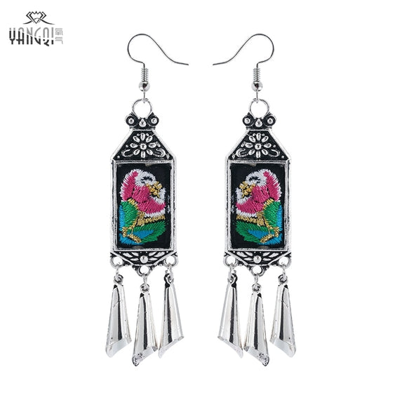 Ethnic Embroidery Embroidered Flower Hande-made Long Tassel Earrings For Woman Wholesale Jewelry