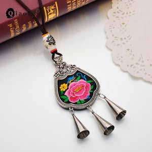 Qiao La Bohemian Ethnic Embroidery Necklace China Rope Chain Embroidered Charm Choker Statement Necklaces Women Jewelry