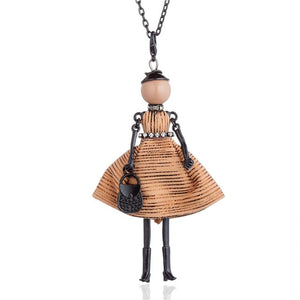 Vintage Embroidered Striped Dress Dancing Doll Pendant necklace For Women Long Chain Sweater Collares Maxi Jewelry Fit Party