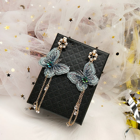 Fairy Pink Green Gold Embroidered Butterfly Earrings Crystal Long Tassel Earrings Insect Wing Earrings Korean Bridal Jewelry