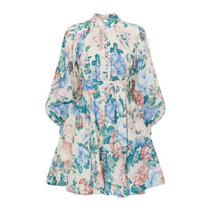 TWOTWINSTYLE Print Floral Bohemian Dress For Women Lantern Long Sleeve Stand Collar Mini Dresses Female 2019 Summer Fashion New