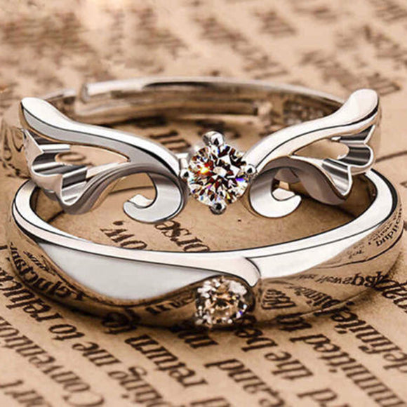 1 Pairs Crystal Silver Open Rings For Women Bijoux Charm Rhinestone Wing Engagement Wedding Jewelry anel masculino Couple Rings
