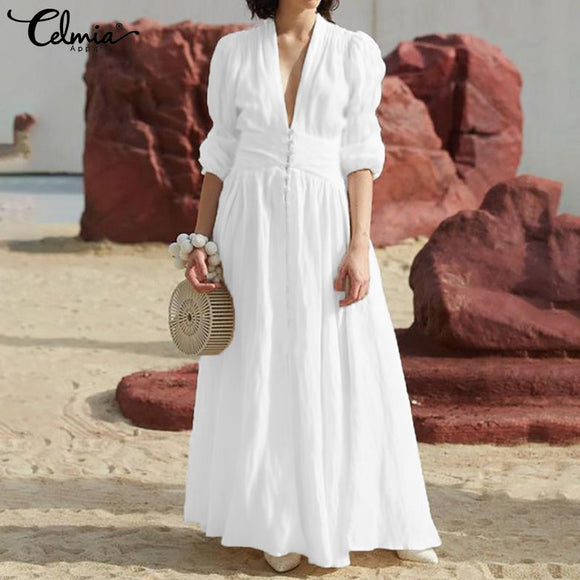 Bohemian Dress 2019 Celmia Women Elegant White Ruffled Sundress Robe Femme Sexy V Neck Puff Sleeve Tunic Shirt Long Vestidos 5XL
