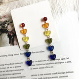 Timeless Wonder Glam Crystal Resin Beaded Heart CC Stud Earrings Women Party Gown Top Jewelry Korean Gothic Sweet Ins Cute 6399