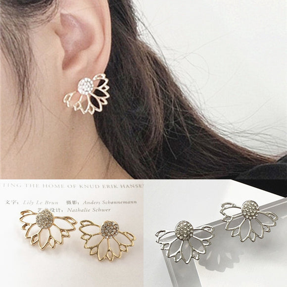 2019 Hot Sale Plant Crystal Brincos Front And Back Flower Lotus Stud Earrings For Women Ear Tops Jewelry Bijoux